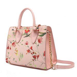 Pink Floral Midi Tote Bag