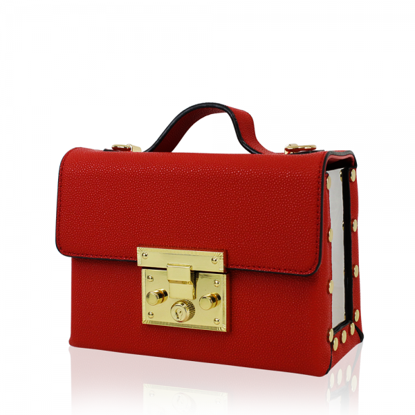 Red Mini Box Bag With Side Mirrors