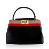 Black Colour Block Top Handle Bag