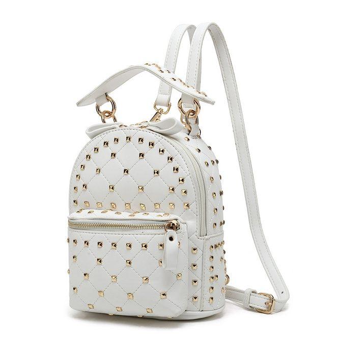 4d93b2a1884 White Studded Mini Backpack