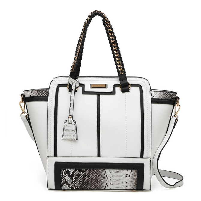 fe5a272f8586 White With Snake Skin Print Tote - Handbags