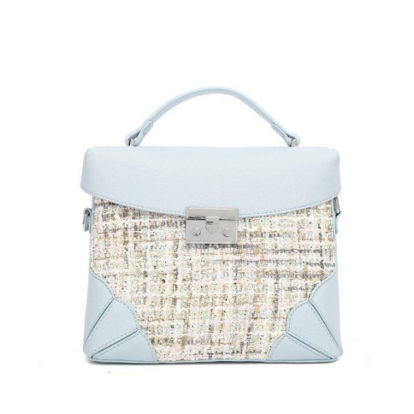 Blue Tweed Midi Handbag