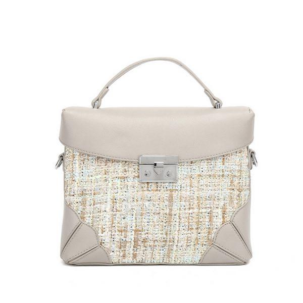 Grey Tweed Midi Handbag