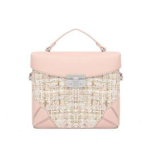 Pink Tweed Midi Handbag