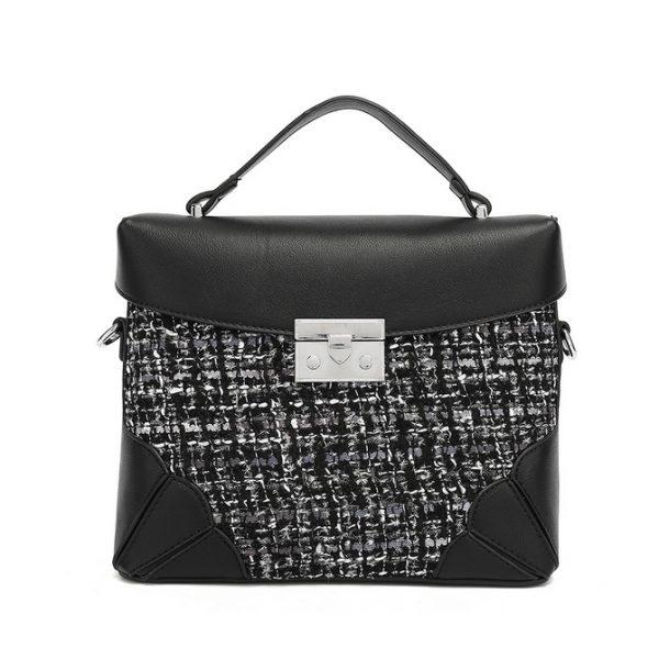 Black Tweed Midi Handbag