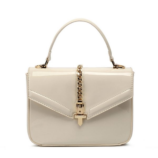 Beige Patent Leather Midi Handbag