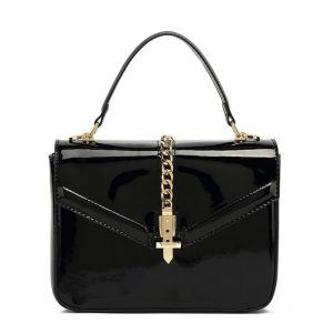 Black Patent Leather Midi Handbag