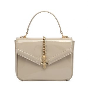 Grey Patent Leather Midi Handbag