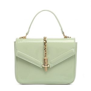 Light Green Patent Leather Midi Handbag
