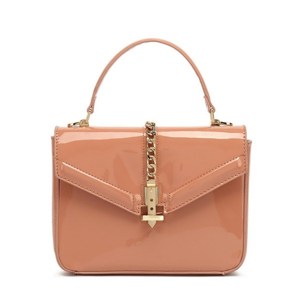 Nude Patent Leather Midi Handbag