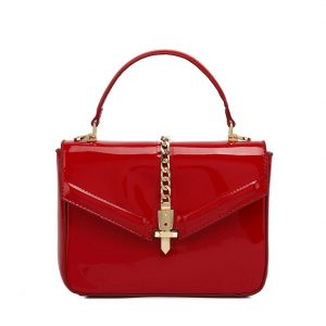 Red Patent Leather Midi Handbag