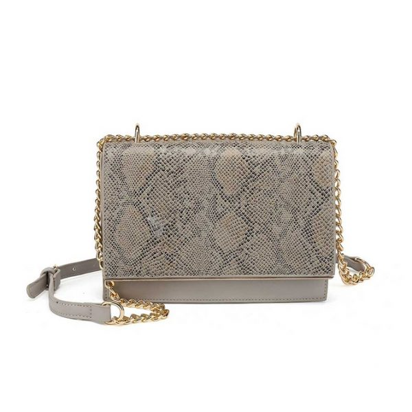 Grey Snake Skin Shoulder Bag