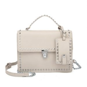 Nude Studded Mini Shoulder Bag