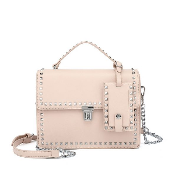 Pink Studded Mini Shoulder Bag
