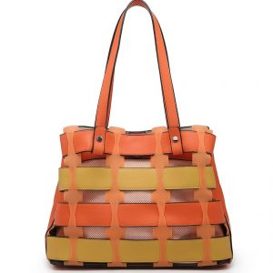 Orange Horizontal Slats Tote Bag