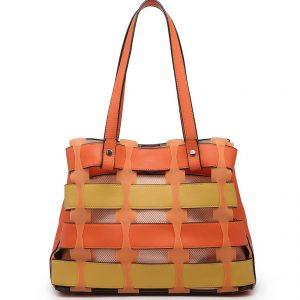 Orange Horizontal Slats Tote Bag