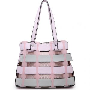 Pink Horizontal Slats Tote Bag
