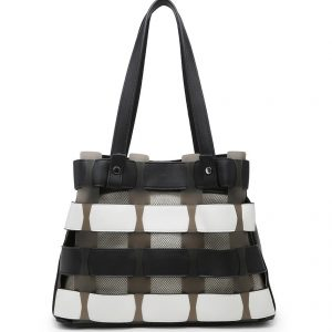 Black & White Horizontal Slats Tote Bag
