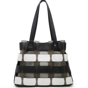 Black & White Horizontal Slats Tote Bag