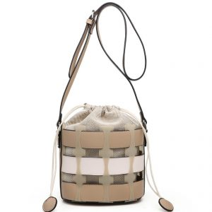 Apricot Bucket Drawstring Cross Body Bag
