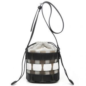 Black Bucket Drawstring Cross Body Bag