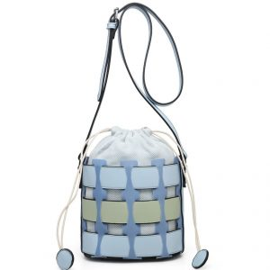 Blue Bucket Drawstring Cross Body Bag