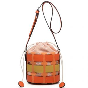Orange Bucket Drawstring Cross Body Bag