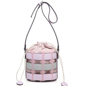 Pink Bucket Drawstring Cross Body Bag
