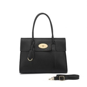 Black Twist Lock Tote Shoulder Bag