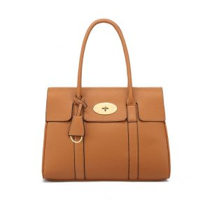 Brown Twist Lock Large Tote Shoulder Bag
