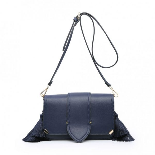 Navy Side Tassels Mini Shoulder Bag
