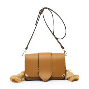 Brown Side Tassels Mini Shoulder Bag