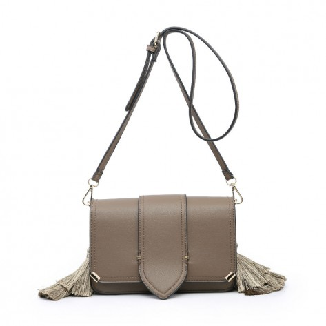 Khaki Side Tassels Mini Shoulder Bag