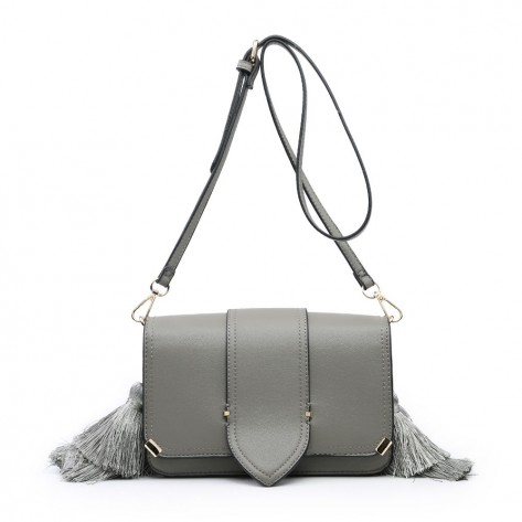 Grey Side Tassels Mini Shoulder Bag