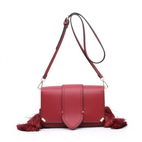 Red Side Tassels Mini Shoulder Bag