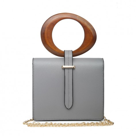 Grey Mini Bag With Round Wooden Handle