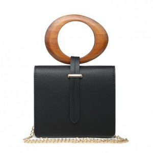 Black Mini Bag With Round Wooden Handle