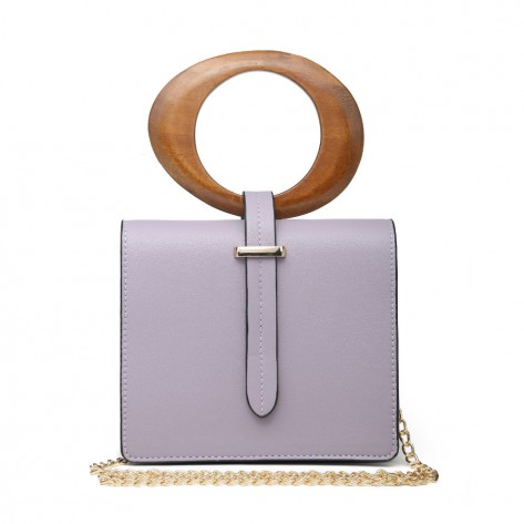 Mauve Mini Bag With Round Wooden Handle