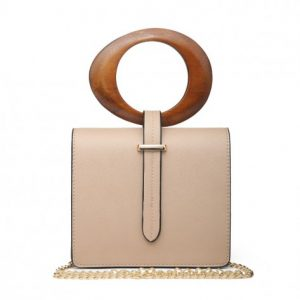 Beige Mini Hand Bag With Round Wooden Handle