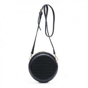 Black Croc Effect Round Mini Shoulder Bag