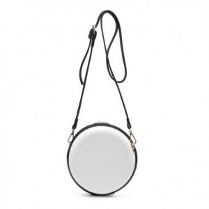 White Croc Effect Round Mini Shoulder Bag