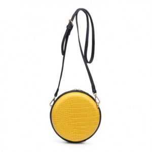 Yellow Croc Finish Mini Shoulder Bag