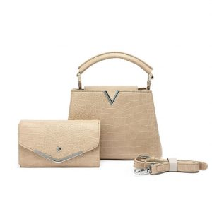 Beige Handbag with Matching Purse