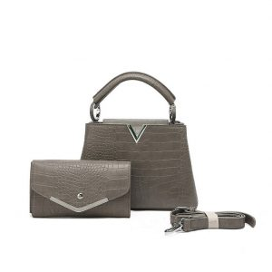 Grey Handbag with Matching Purse