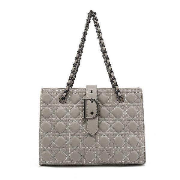 Grey Quilted Shoulder Bag